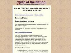 First Federal Congress Exhibit Lesson Plan