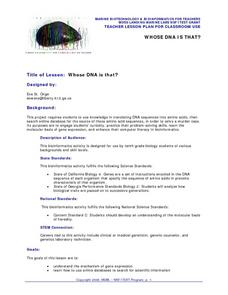 Whose DNA Is That? Lesson Plan