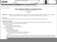 Seven Steps for Writing an Academic Essay Lesson Plan