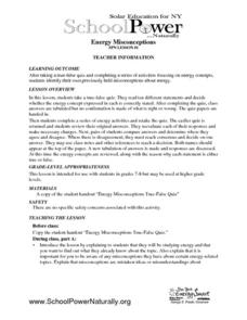 Energy Misconceptions Lesson Plan