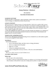 Energy Solutions; A Brochure Lesson Plan