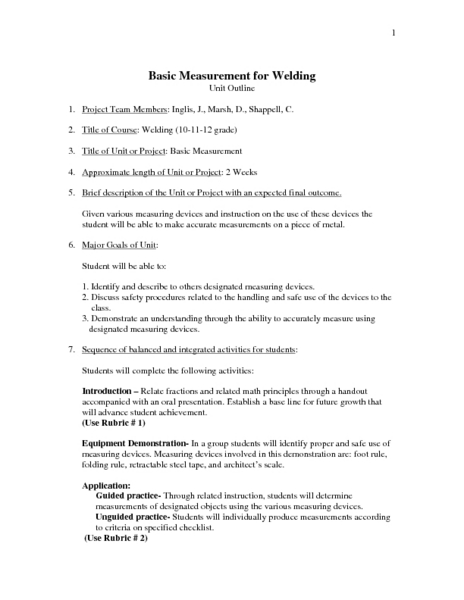 Printable Lesson Plan On welding lesson plans