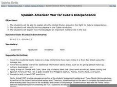 Spanish-American War for Cuba's Independence Worksheet