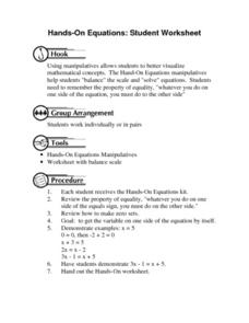 Hands-On Equations Worksheet