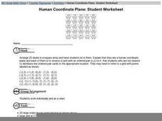 Human Coordinate Plane: Student Worksheet Worksheet
