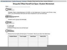 Shaquille O'Neal Hand/Foot Span: Student Worksheet Worksheet