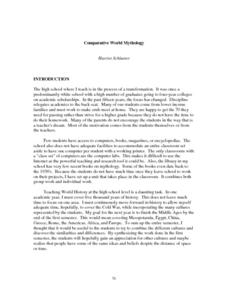 Comparative World Mythology Lesson Plan
