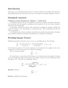 Dividing Integer Powers Lesson Plan