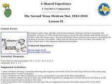 The Second Texas Mexican War, 1842-1844 Lesson Plan