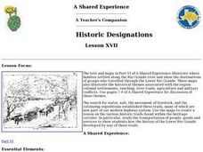 Historic Designations Lesson XVII Lesson Plan