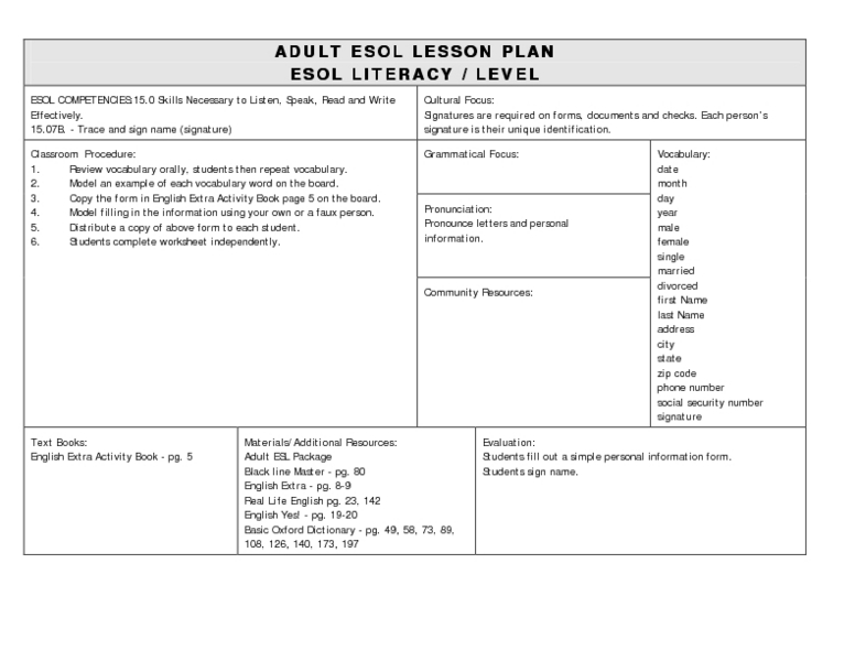 Esol Filling Out A Form Lesson Plan For Higher Ed Lesson