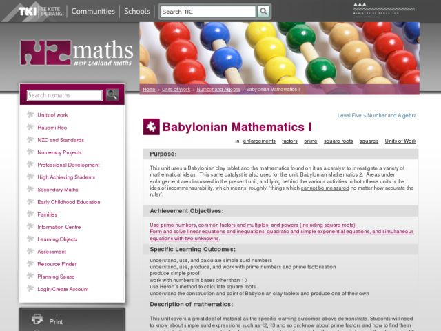 Babylonian Mathematics I Lesson Plan