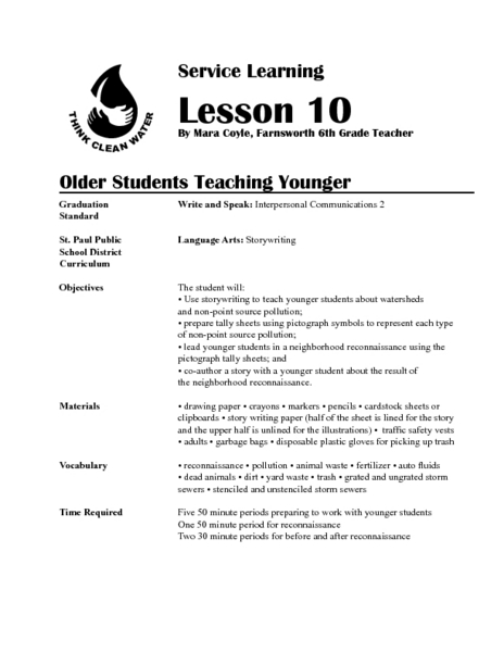 Older Students Teaching Younger Lesson Plan