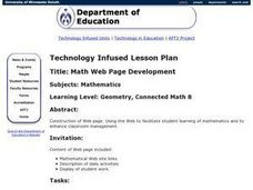 Math Web Page Development Lesson Plan