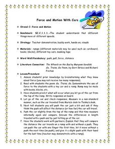 Force And Motion With Cars Lesson Plan