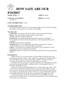 How Safe Are Our Foods? Lesson Plan