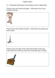 Capital Letters Worksheet