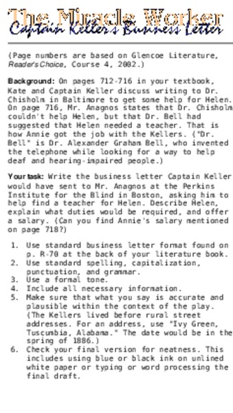 Captain Keller's Business Letter Lesson Plan