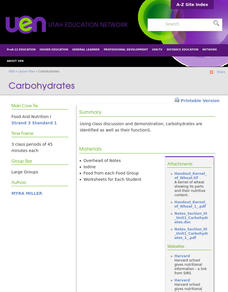 Carbohydrates Lesson Plan