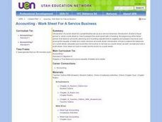 Accounting:  Work Sheet for a Service Business Lesson Plan