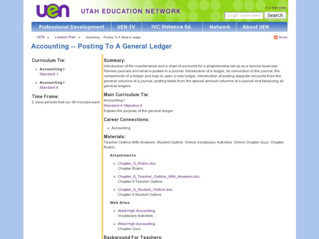 Posting To A General Ledger Lesson Plan