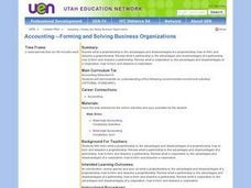Accounting -- Forming and Solving Business Organizations Lesson Plan
