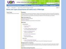 Roles and Types (Equalitarian &Traditional) of Marriage Lesson Plan