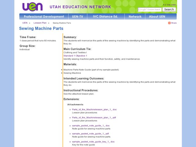 Sewing Machine Lesson Plans Worksheets Lesson Planet Stunning Sewing Machine Part Crossword