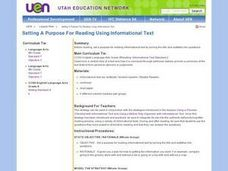 Language Arts: Reading for Information Lesson Plan