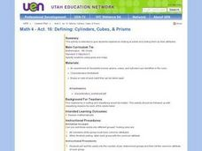 Defining: Cylinders, Cubes, & Prisms Lesson Plan