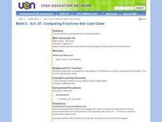 Comparing Fractions War Card Game Lesson Plan