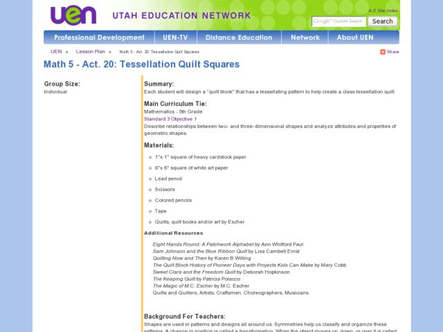 Tessellation Quilt Squares Lesson Plan