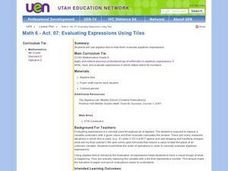 Evaluating Expressions Using Tiles Lesson Plan