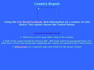 Country Report Lesson Plan