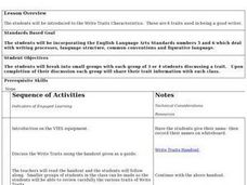 Write Traits Characteristics Lesson Plan