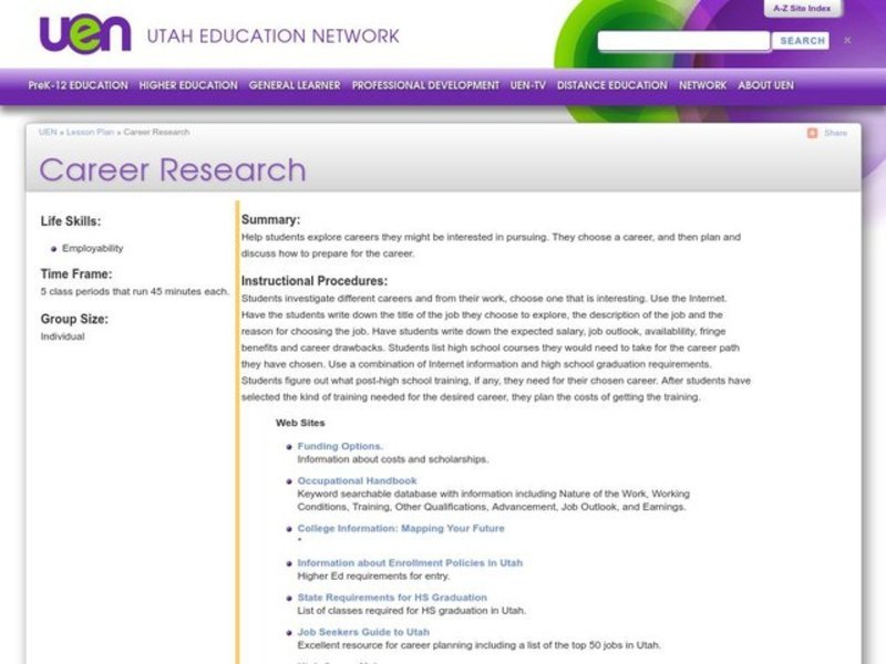 Career Research Lesson Plan