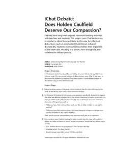 iChat Debate: Does Holden Caulfied Deserve Our Compassion? Lesson Plan