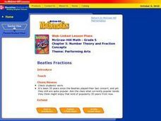 Beatles Fractions Lesson Plan