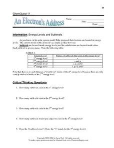 An Electron's Address Worksheet