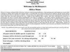 Welcome to McMenyea's Africa Menu Lesson Plan