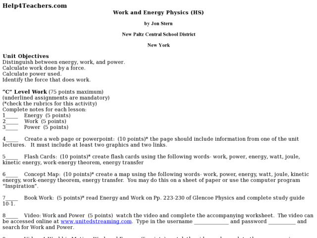 Work And Energy Physics Lesson Plan For 10th 12th Grade
