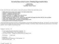 Invention/Innovation/Creative Thinking/Opportunities/Ideas Lesson Plan