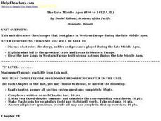 The Late Middle Ages (850 to 1492 A. D.) Lesson Plan