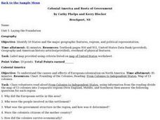 Colonial America and Roots of Government Lesson Plan