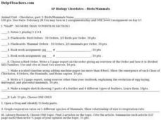 AP Biology Chordates - Birds/Mammals Lesson Plan