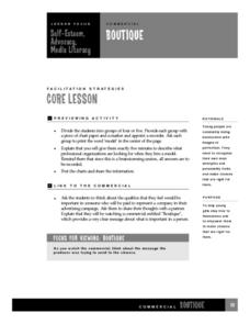 Self-Esteem, Advocacy, Media Literacy Lesson Plan