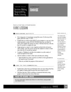 Decision Making, Responsibility, Media Literacy Lesson Plan