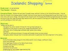 Icelandic Shopping kronur Lesson Plan