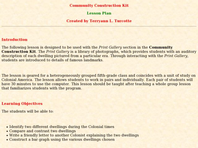 Community Construction Kit Lesson Plan