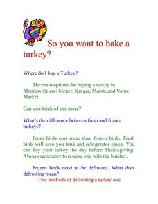 So you want to bake a turkey? Lesson Plan